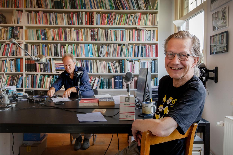 Jaap Jansen, Pieter Gerrit Kroeger van de politieke podcast 'Betrouwbare bronnen'. Beeld Pauline Niks