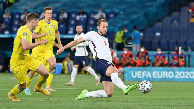 Harry Kane opent de score tegen Oekraïne, Beeld Pool via REUTERS