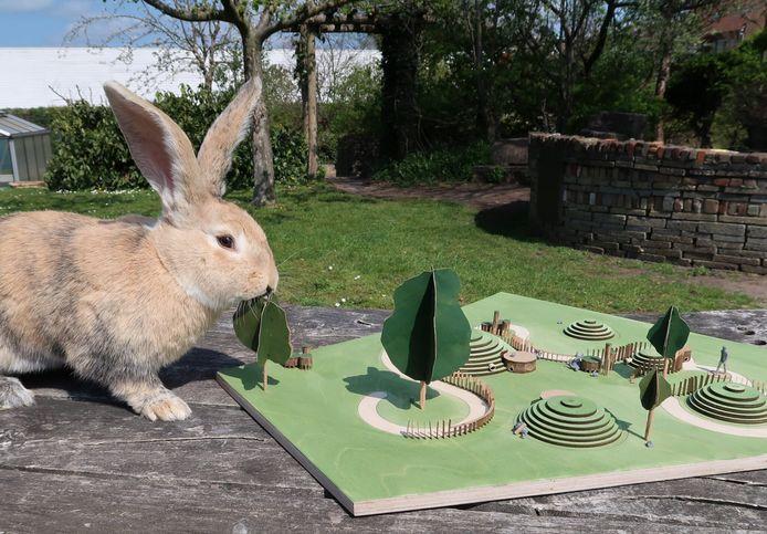 Een maquette van de nieuwe konijnenheuvel die Griftsteede in Utrecht wil bouwen.