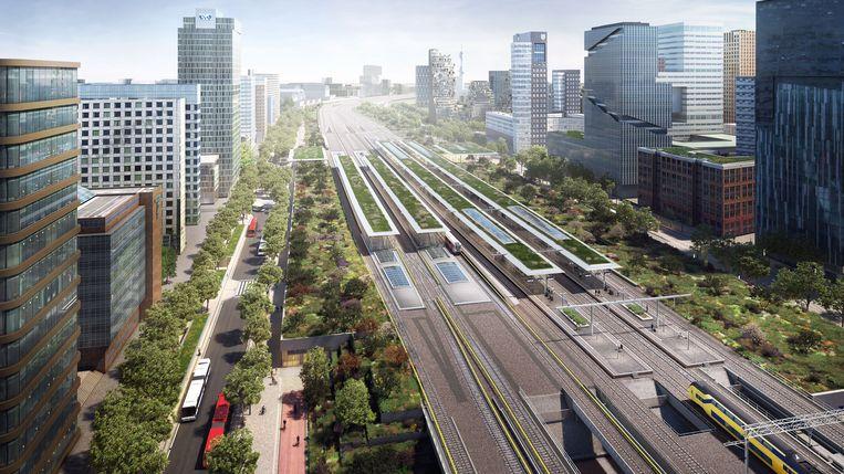 Artist's impression van het station. In de groenstrook rechts komen het vijfde en zesde spoor. Beeld Amsterdam Zuidas