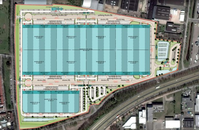 Een artist's impression van hoe het Philipsterrein ingericht moet worden met distributiecentrum Campus A58.