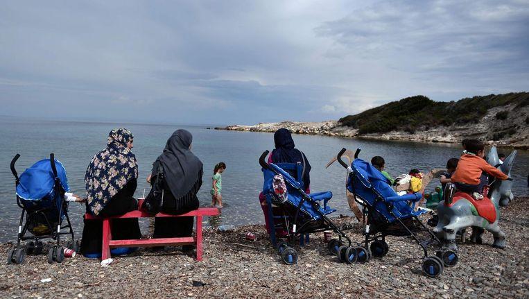 Vluchtelingen op het Griekse eiland Lesbos. Beeld afp