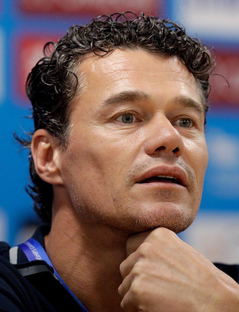Jacco Verhaeren, hoofdcoach van het Australische zwemmen, vorig jaar tijdens het WK in Gwangju, Zuid-Korea.  Beeld AP
