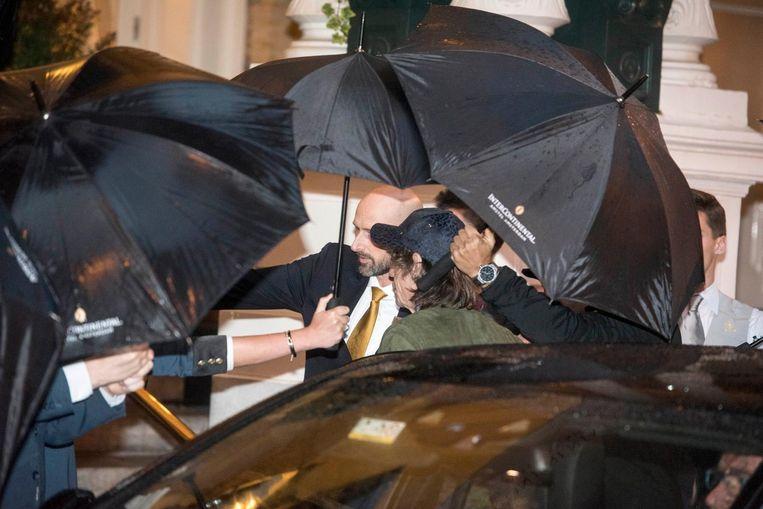 Mick Jagger arriveert bij het Amstel Hotel Beeld anp