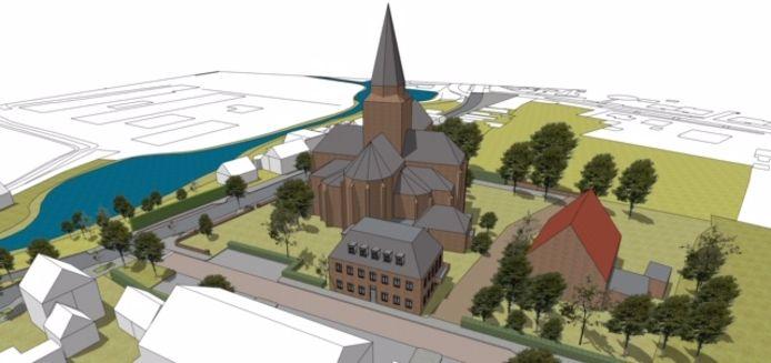 Artist impression van kerk en pastoriewoning Stampersgat.