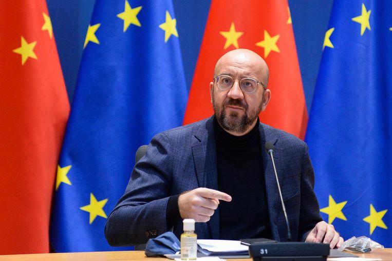 Charles Michel, voorzitter van de Europese Raad, tijdens een video-conferentie tussen China en Europese leiders, 30 december 2020.  Beeld AP