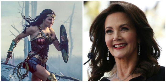 Gal Gadot in de eerste 'Wonder Woman'  in 2017 en Lynda Carter, de ster van de jaren 70-televisieserie 'Wonder Woman'