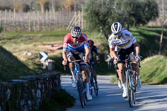 Une semaine avant les championnats du monde, Mathieu van der Poel et Julian Alaphilippe se retrouvent sur les routes belges.
