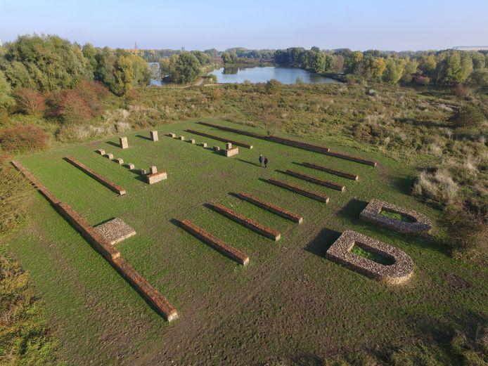 Het deel van het Romeinse castellum dat in 2016 zichtbaar is gemaakt in de Arnhemse polder Meinerswijk.