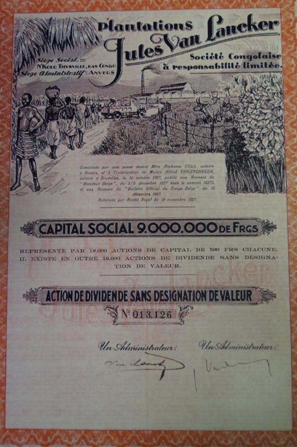 Een aandeel van de 'Plantations Jules Van Lancker'. De tekening op de bovenste helft spreekt boekdelen
