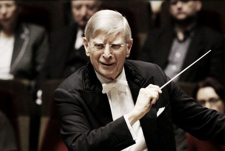 Herbert Blomstedt dirigeert de Wiener Philharmoniker bij de opening van het culturele seizoen in het Amsterdamse Concertgebouw.  Beeld Martin U.K. Lengemann
