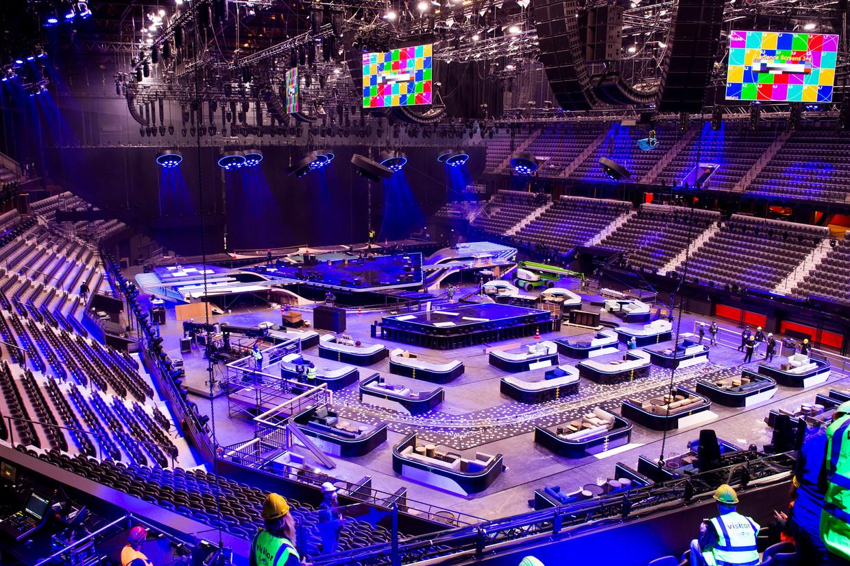 De immense set voor het Eurovisie Songfestival 2021. Beeld Brunopress