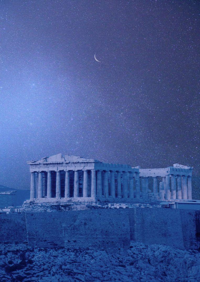 De Akropolis van Athene met de tempel van Athena, ook wel bekend als het Parthenon. Volgens Janrick van Rookhuijzen verwijst die naam naar een ander gebouw.    Beeld Getty Images