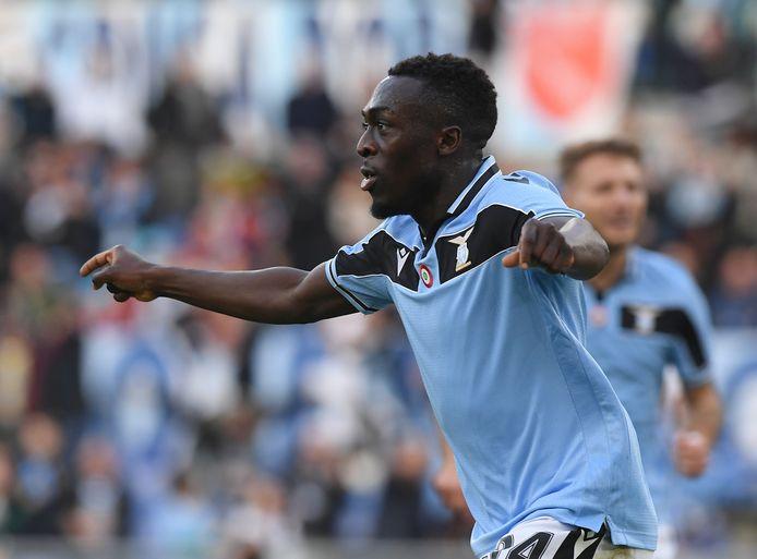 Bobby Adekanye juicht na zijn goal voor Lazio op 2 februari 2020.