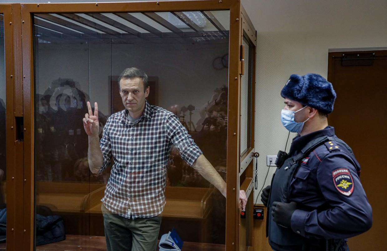Aleksej Navalny zit een gevangenisstraf uit van tweeënhalf jaar in een strafkamp op 100 kilometer van Moskou. Beeld EPA