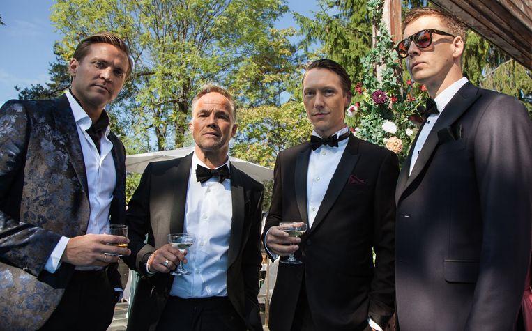 Hoofdfiguren Henrik, Jeppe, Adam en William in de Noorse reeks 'Exit'. Beeld RV VRT