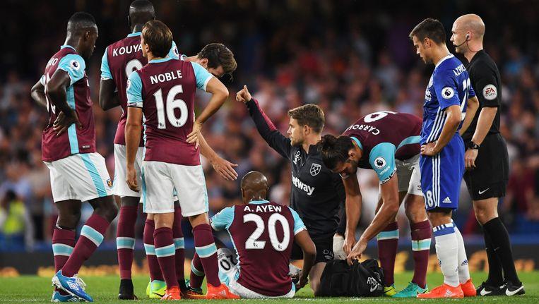 André Ayew blesseerde zich maandag tegen Chelsea. Beeld Photo News