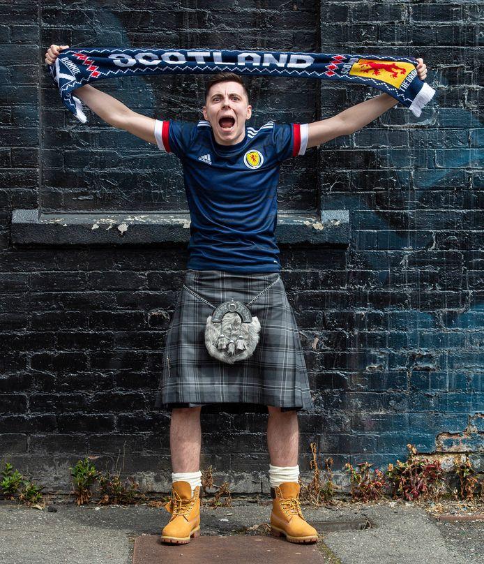Een Schotse fans voor de nederlaag tegen Tsjechië, afgelopen maandag (0-2).