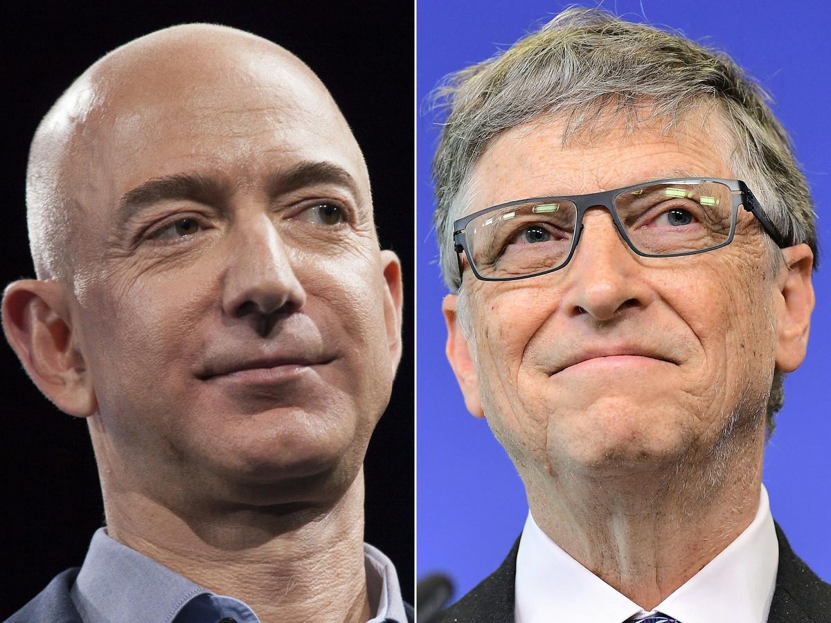 Amazon-oprichter Jeff Bezos en Microsoft-oprichter Bill Gates zijn de enige twee hectomiljardairs op de wereld, allebei meer dan 100 miljard dollar waard.