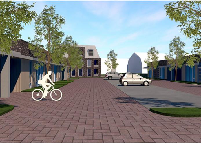 Impressie van nieuwbouwcomplex Hopbelstaete aan de Hoofdstraat in Schijndel.  Dit zijn de patio-bungalows voor senioren.