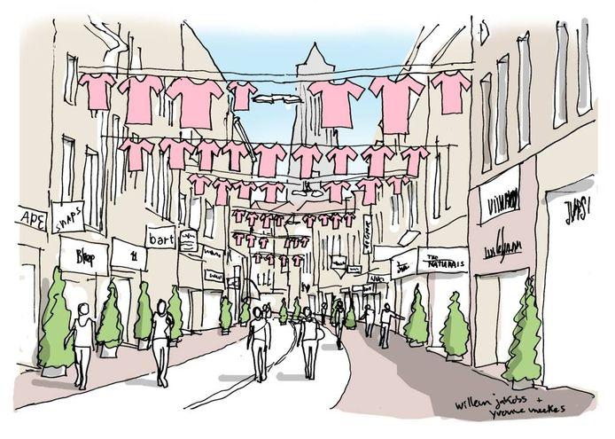 Artist impression van de Koningstraat vol waslijnen van de ontwerpers Willem Jakobs en Yvonne Meekes.