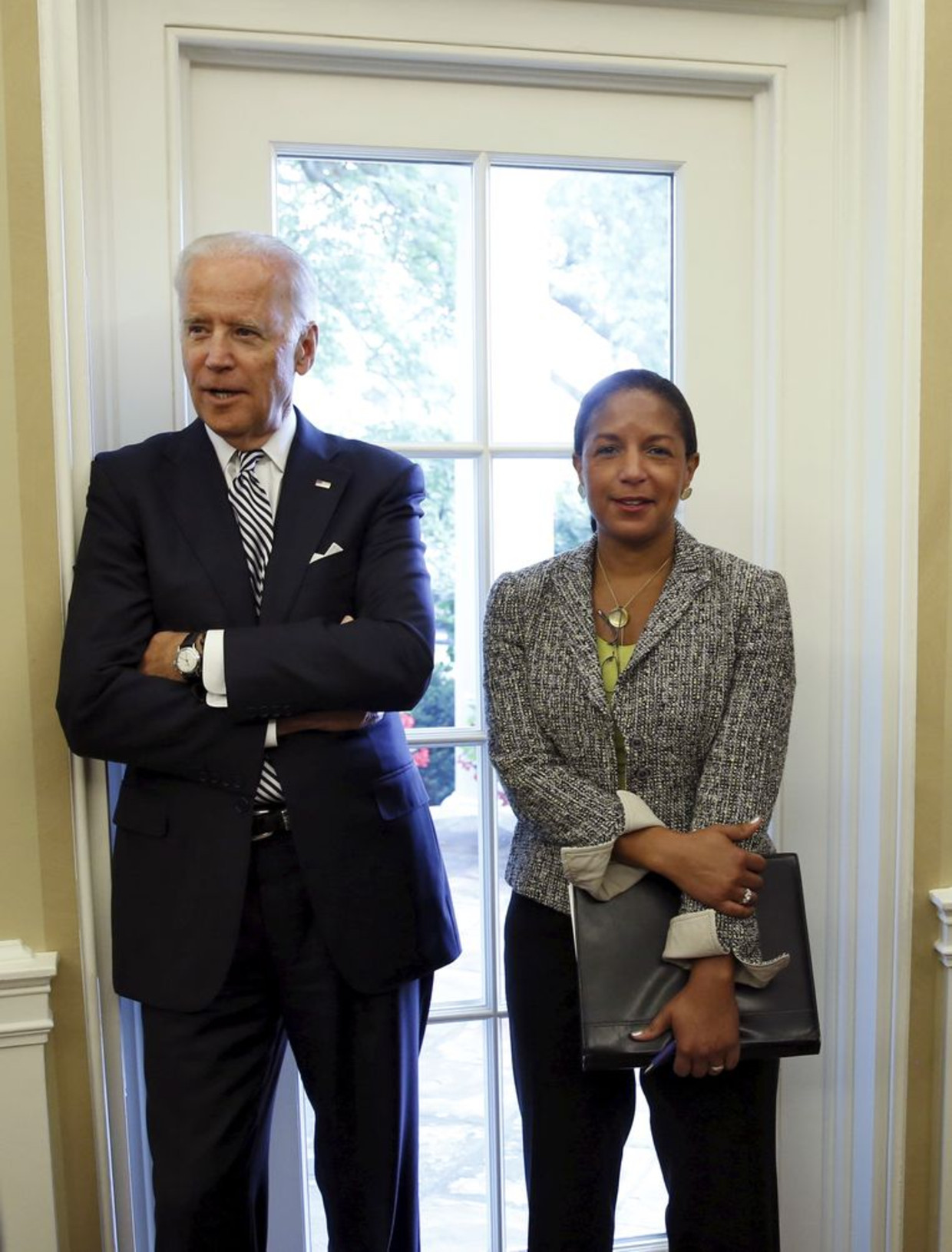 Joe Biden naast voormalig Nationaal Veiligheidsadviseur Susan Rice. Beeld REUTERS