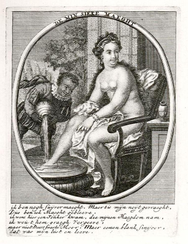 Gravure uit 1700 van een onbekende kunstenaar. Een 'swarte Moor' wast de voeten van De min sieke maegt. Beeld Collectie Rijksmuseum