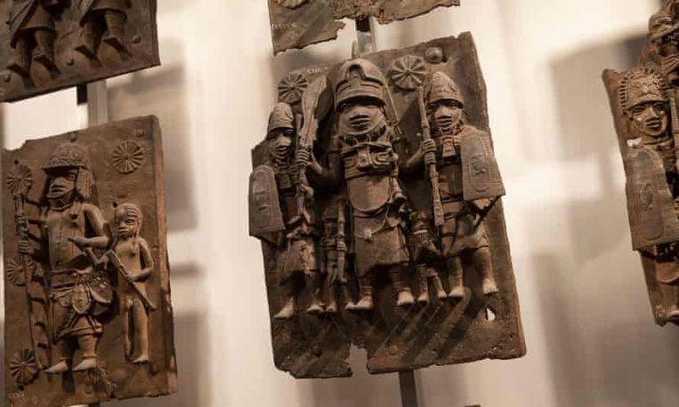 Het British Museum heeft de grootste collectie Benin Bronzes, daarna volgt het Humboldt Forum. De Benin Bronzes werden oorspronkelijk door de Britten gestolen, en vervolgens doorverkocht aan andere landen.  Beeld Getty