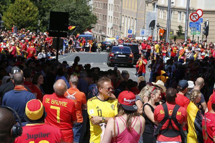 Veel Belgische fans op straat.