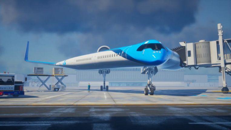 Het vliegtuig in de vorm van een V waar KLM en TU Delft aan werken.