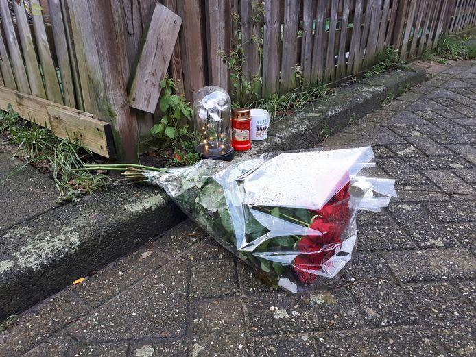 Bloemen op de plek waar de Rozenburgse man werd doodgestoken.