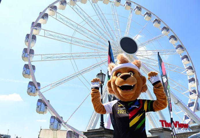 Ook de mascotte is uitgelaten blij met het WK Wielrennen dat op 24, 25 en 26 september naar Antwerpen komt.