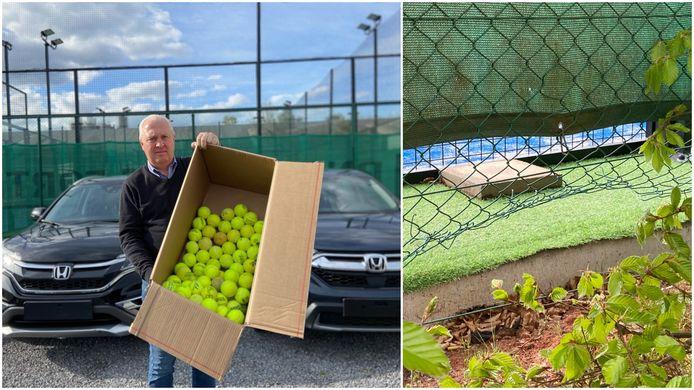 Garagist Bart Vandewalle met een doos vol overgevlogen padelballen. Rechts: de vernielde draadafsluiting waar de padelspelers onderkruipen om de overgevlogen balletjes te gaan halen
