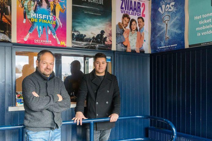 Vader Robert Hoedt en zoon Thomas Hoedt, uitbaters van bioscoop Biobest Theater