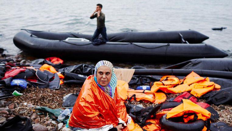 Aangekomen op Lesbos na een succesvolle passage van de Europese slotgracht in 2015, haar lukte het nog Beeld ANP