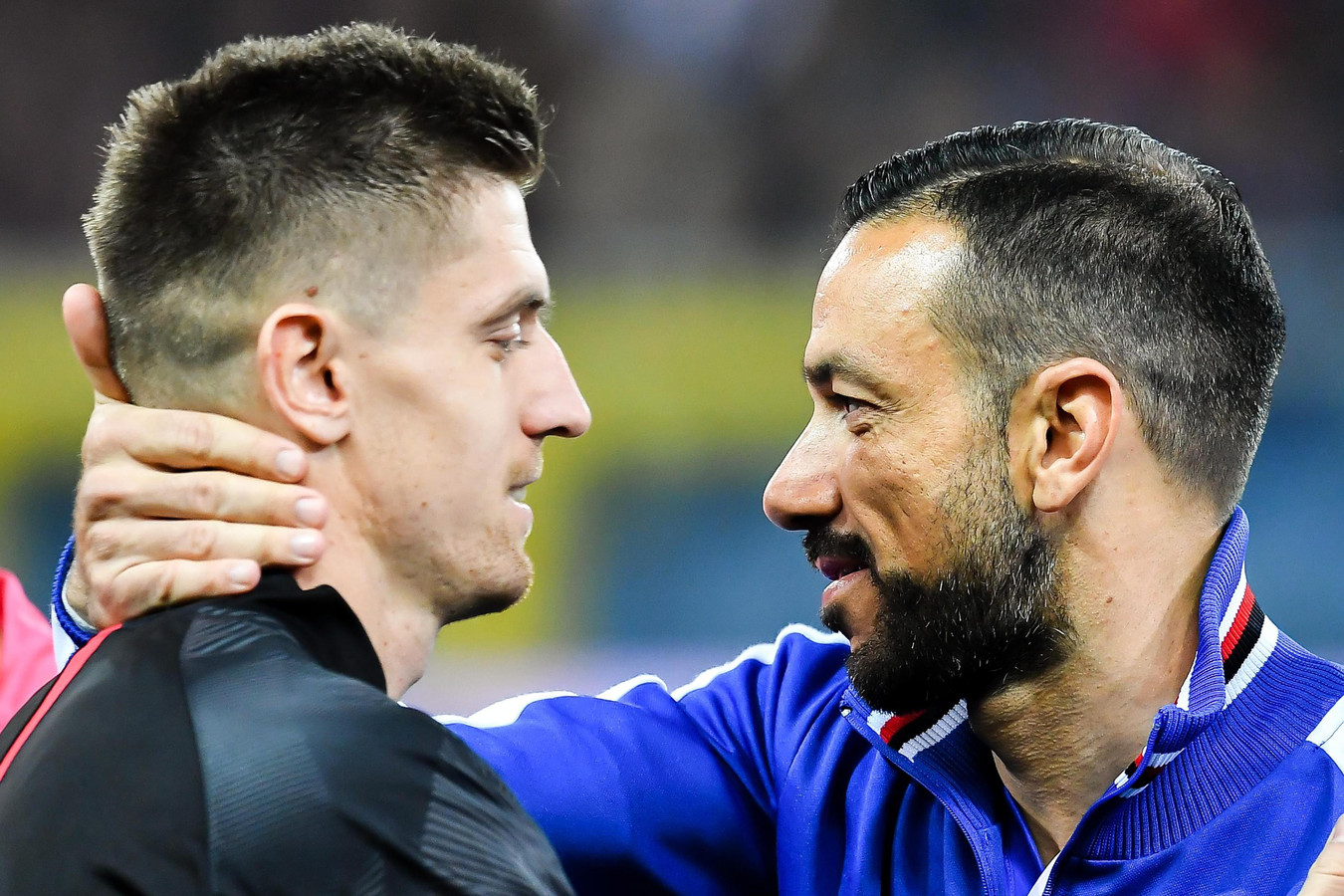 Krzysztof Piatek en Fabio Quagliarella voor Sampdoria - AC Milan vorige maand.