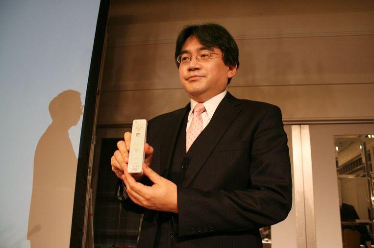 Saturo Iwata bij de voorstelling van de Wii. Beeld PHOTO_NEWS