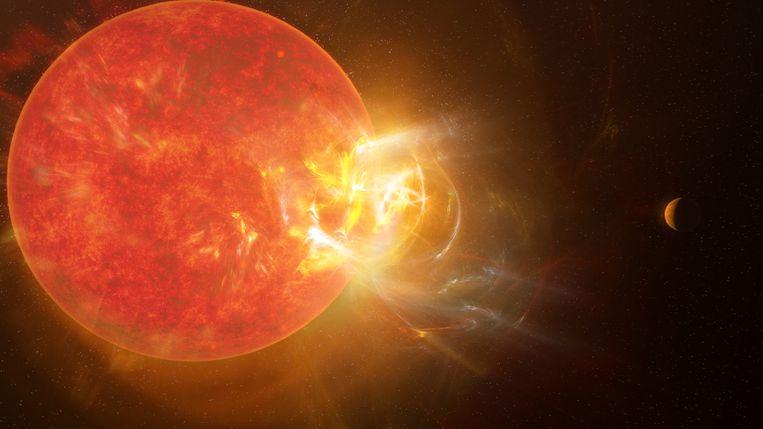 De explosie op de ster Proxima Centauri (links) betekent waarschijnlijk slecht nieuws voor de leefbaarheid van planeet Proxima b (rechts). Beeld S. Dagnello/NRAO