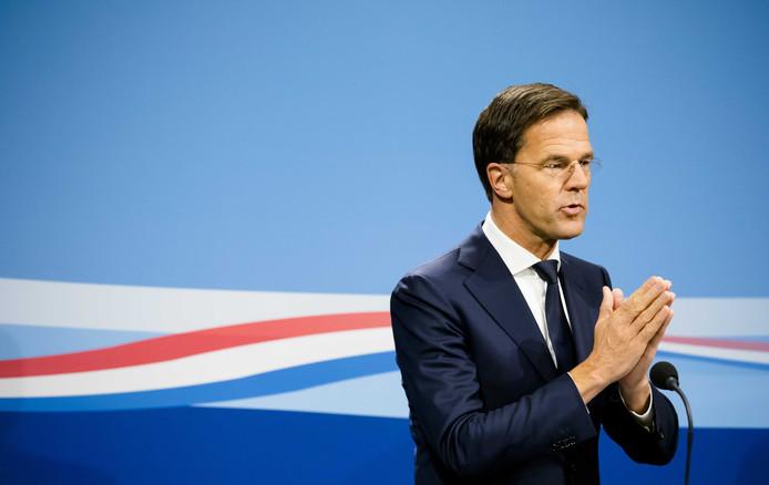 Rutte tijdens een persconferentie na afloop van de wekelijkse ministerraad.