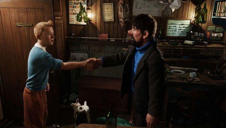 Kapitein Haddock (rechts), hond Bobbie en Tintin/Kuifje: adembenemend, maar op een vreemde, buitenaardse manier. Beeld
