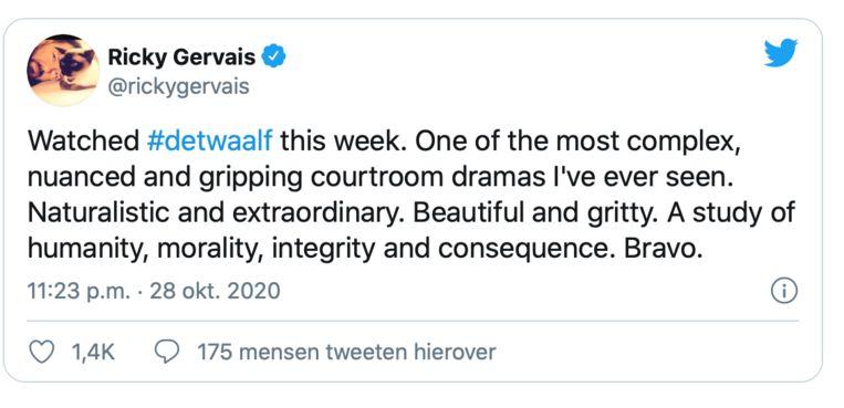 Ricky Gervais fan van 'De Twaalf' Beeld Twitter