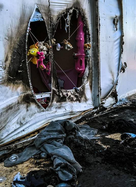 Een Syrische vluchteling raakte zwaargewond bij de brand