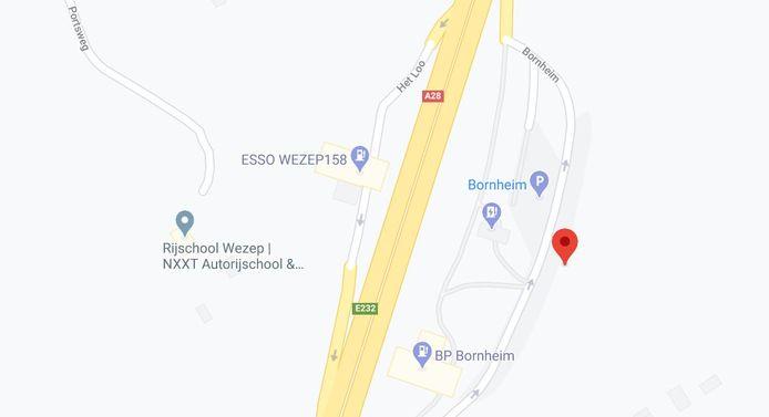 De plek langs de A28 waar de controle van politie en Douane vanavond plaatsvond.