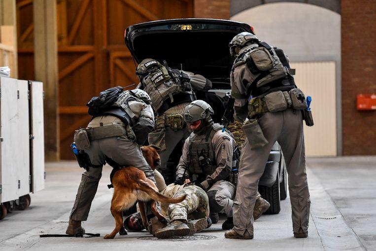 Leden van de speciale eenheden voeren een oefening uit met een politiehond. Beeld BELGA