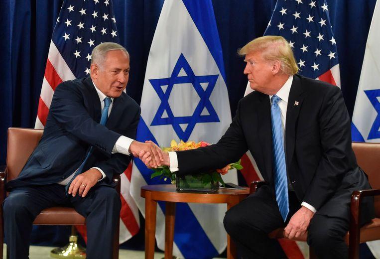 Israëlisch premier Benjamin Netanyahu en Amerikaans president Donald Trump ontmoetten elkaar in de marge van de VN-top. Beeld AFP