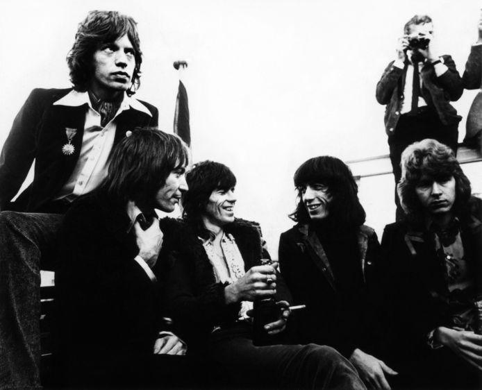 The Rolling Stones in Hamburg, in 1970. Van links naar rechts: Mick Jagger, Charlie Watts, Keith Richards, Bill Wyman en Mick Taylor.