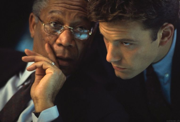 Morgan Freeman (links) en Ben Affleck in The Sum of All Fears. Beeld