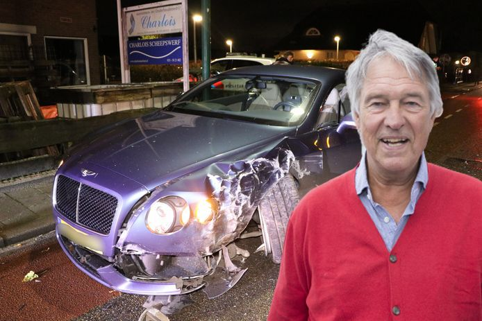 De Bentley van Ron Brandsteder raakte zwaar beschadigd.
