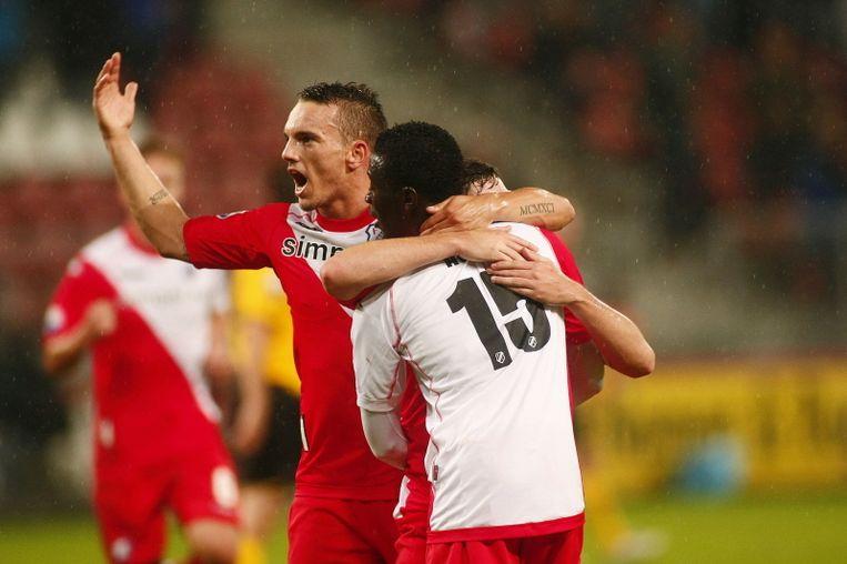 Rodney Sneijder na de goal bij zijn debuut. © PRO SHOTS Beeld