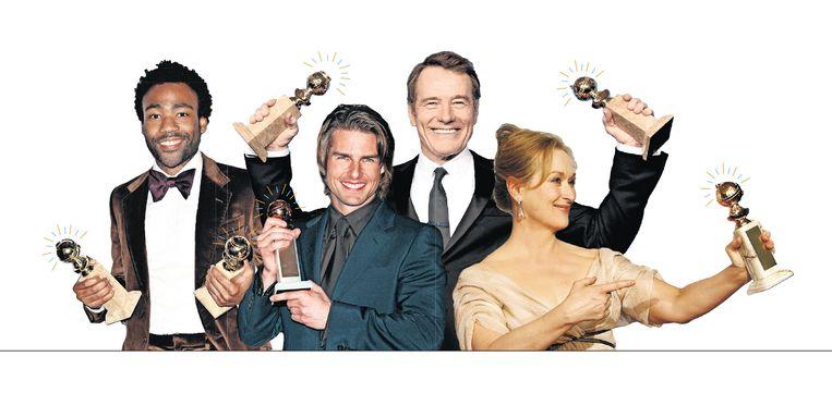Van links af: Donald Glover (met trofee, in 2017), Tom Cruise (2000), Bryan Cranston (2014), Meryl Streep (2007). Beeld Getty Images